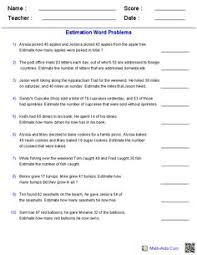 estimation word problems 4th grade estimating sums and differences 3 digits word problems math aids