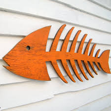 fish skeleton sign wooden fish cottage fish decor