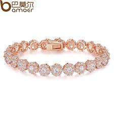luxury bracelet gold chains images Bamoer luxury 18k rose gold plated chain bracelet for women ladies jpg