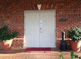 Brick Stairs Design White Double Doors With Straight Keystone Design And Rustic