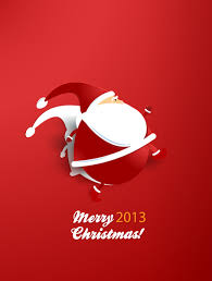 christmas vector illustration with sticker santa by cristina012 on