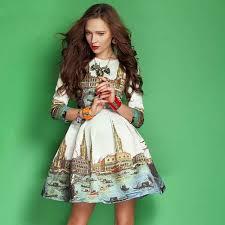 elegant dresses 2016 europe fashion new sweet style 3 4 sleeve