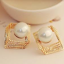 gold earrings for women images pearl earrings women gold silver hollow square multi layer stud