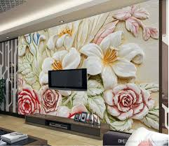 photo customize size 3d european embossed flower tv wall mural 3d see larger image