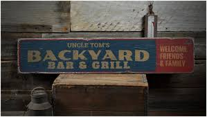 backyards excellent backyard bar grill wood sign custom name