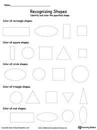 shape recognition worksheet recognizing shapes myteachingstation