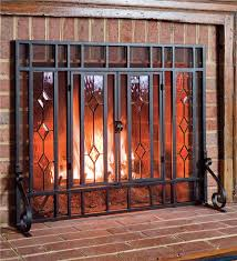 beveled glass fireplace screen hearth plow hearth