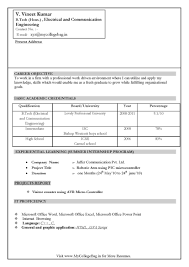 Resume Format Pdf For Ece Engineering Freshers by Resume Samples For Freshers Btech Free Download Best Online Essay