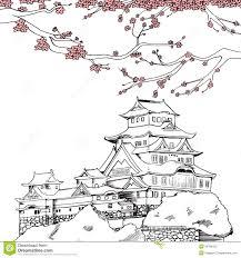 Himeji Castle Floor Plan Japanese Sakura Drawing Art Illustration Of Japanese Himeji
