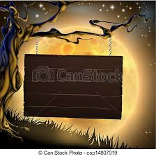 vector clip art of halloween tree sign background a scary