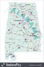 Alabama Maps Illustration Of Alabama Interstate Highway Map