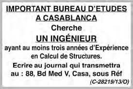 bureau d 騁ude casablanca bureau d études a casablanca cherche un ingénieur ayant expérience