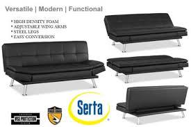 Leather Futon Sofa Black Leather Futon Lounger Niles Serta Euro Lounger The Futon