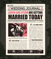 newspaper wedding program newspaper wedding invitation design template stock vector