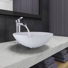 vigo vgt1050 white frost glass vessel bathroom sink and niko