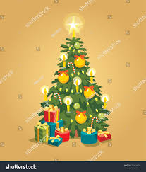 tree lights ornaments presents stock vector 730629784