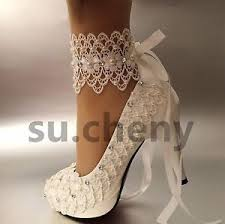 wedding shoes size 11 3 4 heel white ivory lace ribbon ankle pearls wedding shoes