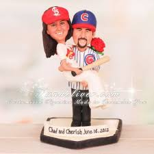 baseball wedding cake toppers chicago cubs and st louis cardinals baseball wedding cake toppers