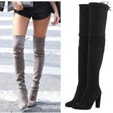 buy boots for stretch faux suede thigh high boots fashion the