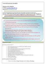 Qa Qc Engineer Resume Sample by Resume Senior Hvac U0026 Plumbing U0026 Qc Engineer