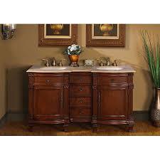 60 Inch Cabinet Silkroad Exclusive Travertine Stone Top 60 Inch Double Sink Vanity