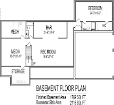 Finished Basement Floor Plan Ideas 4 Bedroom House Plans One Story With Basement Basements Ideas