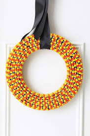 make a halloween wreath halloween crafts how to make a halloween candy corn wreath at