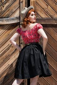pinup couture peasant top in red bandana print retro style