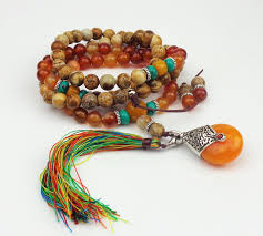 natural beads necklace images 8mm natural stone beads with tassel necklace mala bead necklace jpg