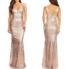 floor length rose gold sequin maxi dress bridesmaid gown xs 3xl