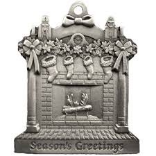Fireplace Scene Pewter Christmas Ornament