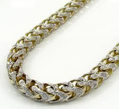 diamonds gold necklace images 10k yellow gold two tone fully iced diamond franco chain 26 inch 6mm jpg