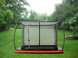 inground 9ft x 6 5ft rectangular trampoline u0026 safety enclosure