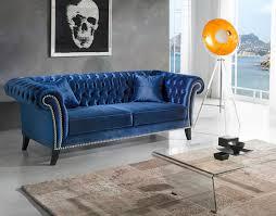 canapé velours bleu canapé 3 places sofamobili