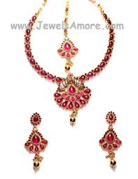 necklace with pink stone images Traditional antique finish temple jewelry necklace set with jpg