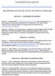 free north carolina corporate bylaws template pdf word
