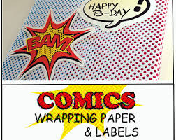 comic wrapping paper wrapping paper comic etsy