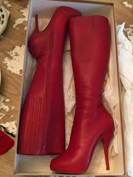 christian louboutin red boots size 37 5 on sale 566 25