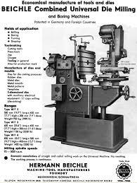 beichle precision toolroom universal milling machine machining