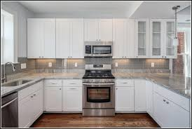 backsplash for white kitchens gray subway tile backsplash with white cabinets nrtradiant com
