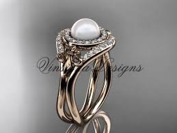 pearl and diamond engagement rings 14kt gold diamond fleur de lis pearl engagement ring vp10025