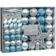 Ice Blue Christmas Decorations Uk by Christmas Tree Decoration Set Ice Blue U0026 Silver Baubles B U0026m