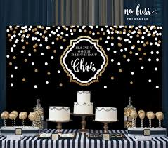 party backdrops black and gold backdrop adults party banner by nofussprintable