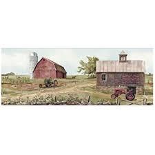 Tractor Barn Wallpaper Border Cow Pasture Red Barns Farm Country Americana