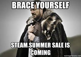 Summer Is Coming Meme - brace yourself steam summer sale is coming brace yourselves the