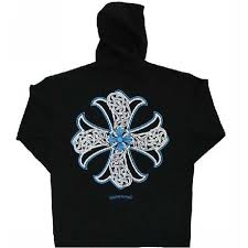 blue signature cross chrome hearts limited hoodie online store