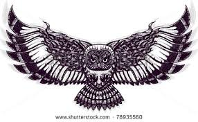 Patterned Flying Owl Drawing Illustration Flying Owl Stock Vector Tatoo Owl And Tatoo