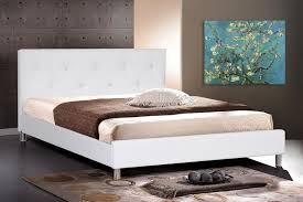 Modern White Headboard by Black Or White Soft Leather Bed With Crystals On Headboard