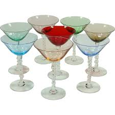 martini glasses png vintage hand blown italian colored clear barley twisted stem