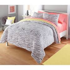 Pink Zebra Comforter Your Zone Gray And Yellow Zebra Comforter Set Walmart Com